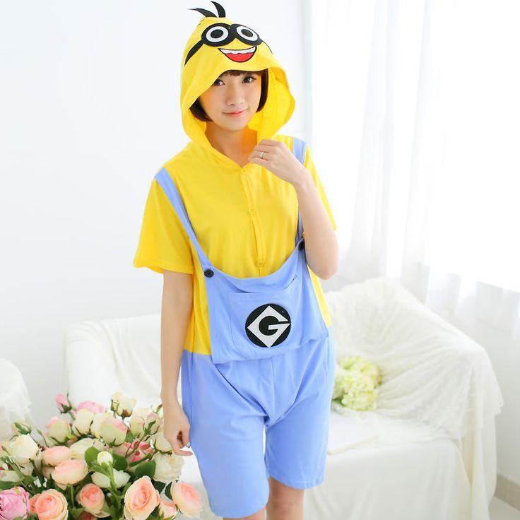 >> Click to Buy << Summer Short Sleeve Kids Boys Girls Pijamas Pure Cotton Pajamas Child Pyjamas Hooded Cartoon Minions Cosplay Female Men Sleeper #Affiliate