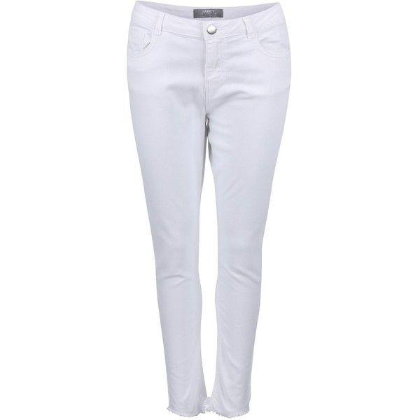 Bílé džíny s roztřepenými nohavicemi Dorothy Perkins ❤ liked on Polyvore featuring dorothy perkins