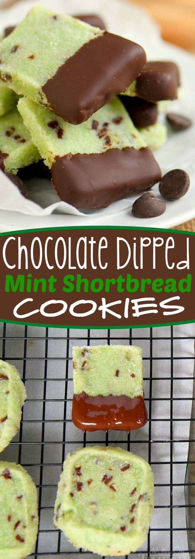 Delightfully easy Chocolate Dipped Mint Shortbread Cookies are perfect for the holidays! Mint and chocolate is the BEST combination and it really shines through in these buttery cookies!
