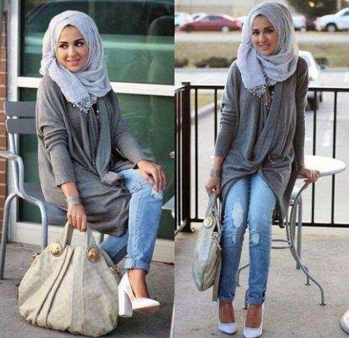 drape gray blouse hijab casual look- Hijabi fashion Bloggers Street looks http://www.justtrendygirls.com/hijabi-fashion-bloggers-street-looks/