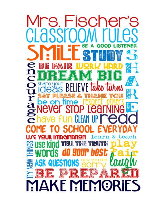"""Classroom Rules for HIGH SCHOOL Classroom - Primary Colors -  Customize with Teacher's Name - 8x10"""""""