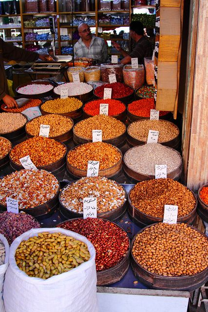 Amman, Jordan nuts, snacks and spices. Visit the Souq to explore the amazing sights, sounds, and smells!