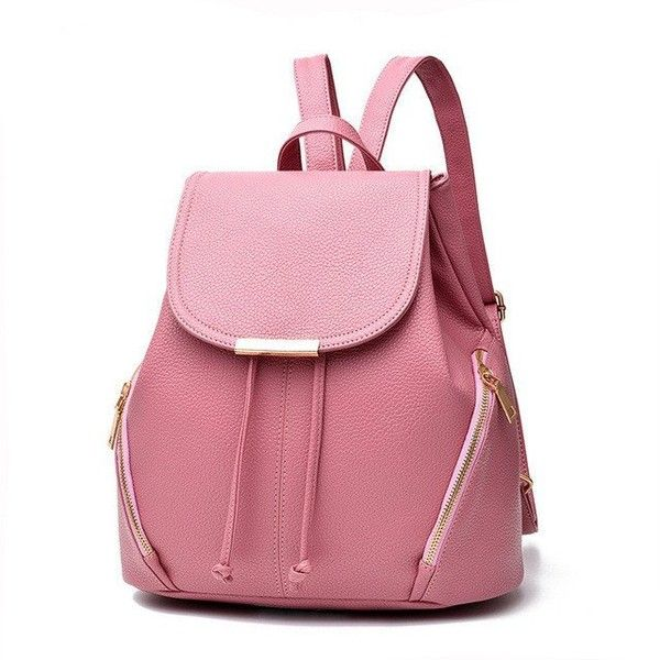 YINGPEI VEGAN LEATHER BACKPACK CLASSIC SHAPE RED WHITE BLACK PINK... ($40) ❤ liked on Polyvore featuring bags, backpacks, backpack, black and white backpack, pink faux leather backpack, pink backpack, faux leather rucksack and faux leather backpack