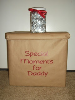 A good idea for next time.  A box to keep special momentoes to share when he gets home and a countdown jar of kisses.