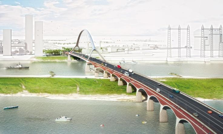 The new bridge (the third) over the river Waal in Nijmegen
