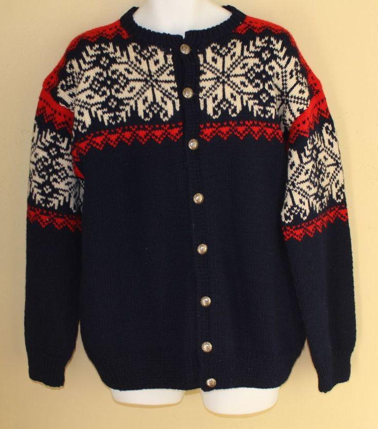 SAGA Norway Norwegian Snowflake Traditional Hand-Knit Cardigan Sweater Sz M MINT #SagaKnit #Cardigan