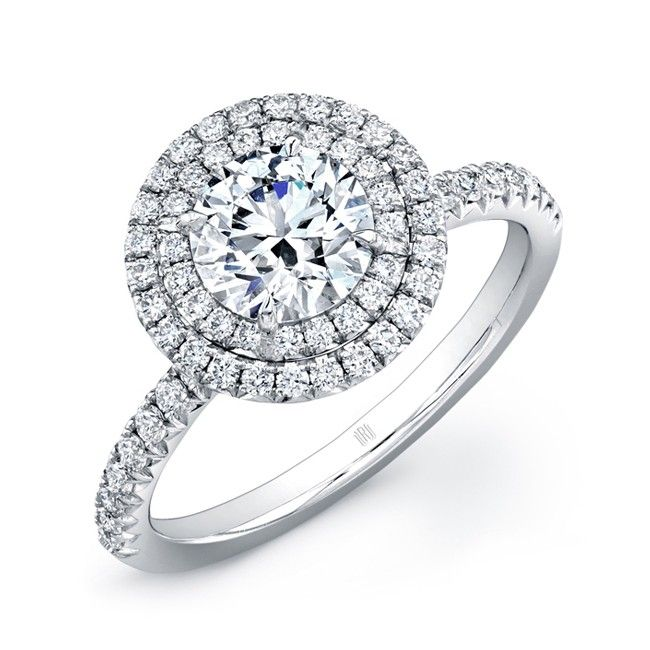 Double Halo Ring - Double halo ring with round brilliant diamond accented with white diamond melee in 18kt white gold.