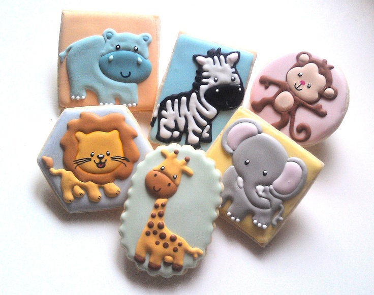 1 dozen Jungle Baby Shower Vanilla Almond Decorated Sugar Cookies Elephant Monkey Zebra Giraffe Hippo Lion. $36.25, via Etsy.