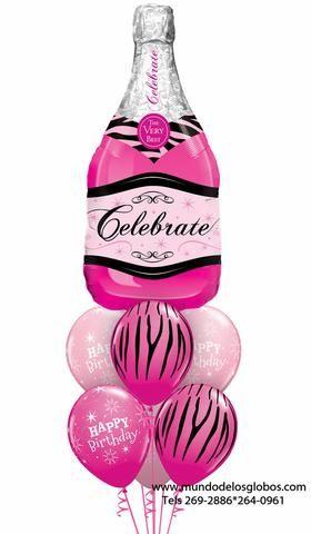 Bouquet Happy Birthday con Botella de Champan Gigante Rosada Celebrate y Globos Rosados con Pieles de Aniamles