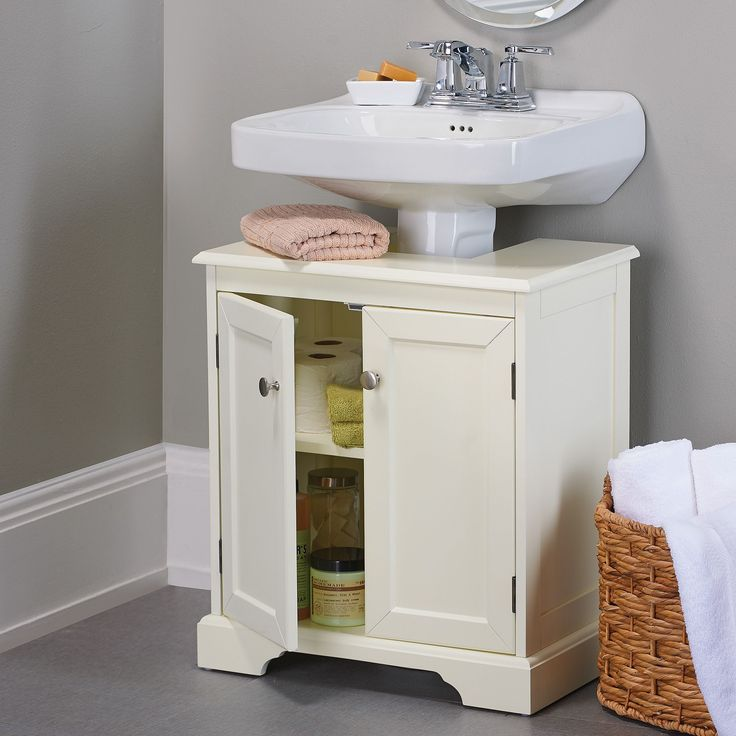 Best 25 pedestal sink storage ideas on pinterest corner - Bathroom vanity under sink organizer ...
