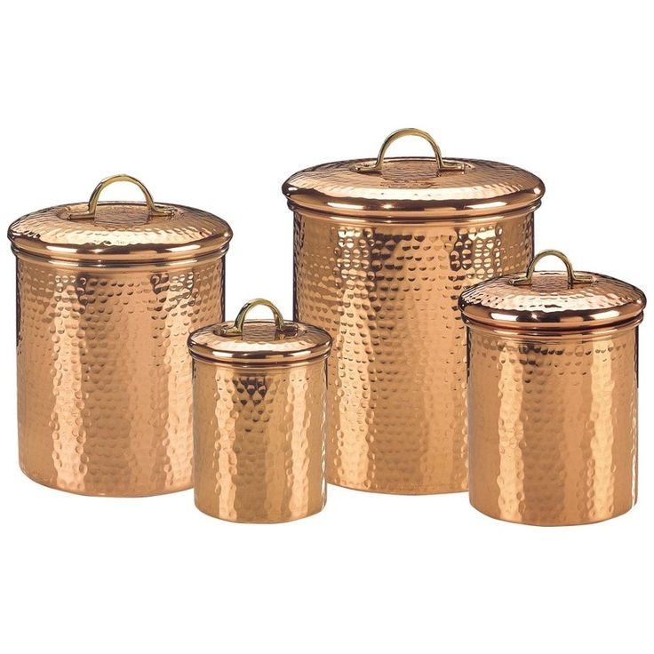 Copper Kitchen Decorative Items Old Dutch Copper Canister Set Decor Hammered 843