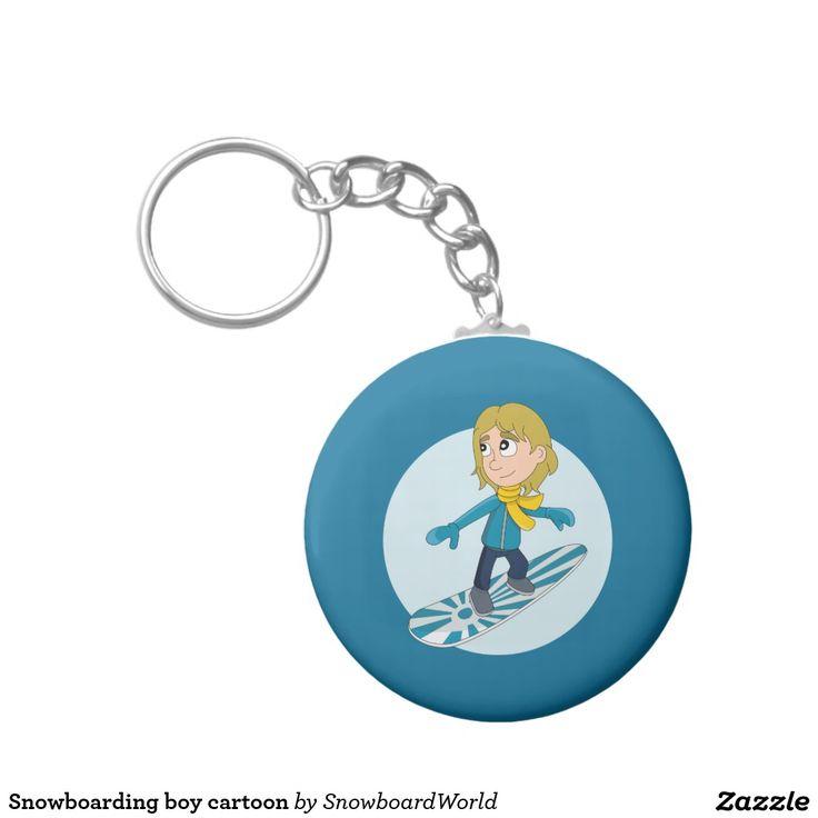 Snowboarding boy cartoon basic round button keychain