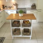 Still one of my most fave projects DIY kitchen island with an IKEA kallax shelf and cutting boardsfridiyday diyhomedecor ikeahack ikea kitchendecor myneutralhome modernfarmhouse