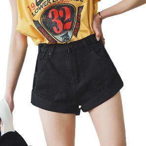 Vintage High Waist Crimping Shorts Denim   – women shorts