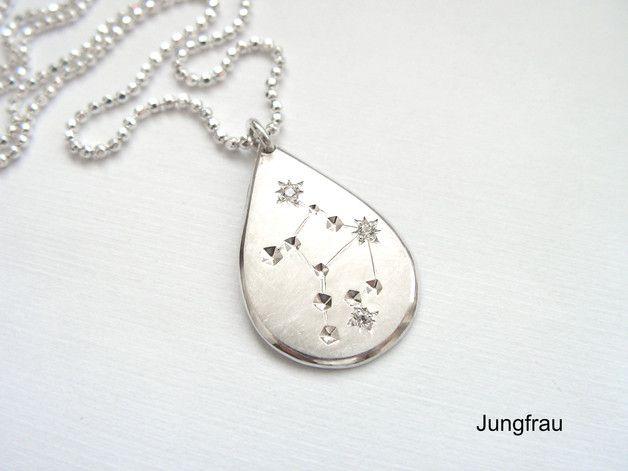 """Sternbild """"Jungfrau"""" - Anhänger 935/- Silber mit Zirkonia"""