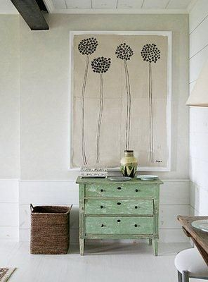 Love this artwork and green chest of drawers