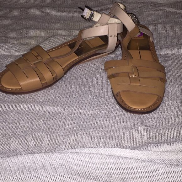 Tan and beige flat sandals flat strappy leather sandal. Worn once. Like new! Dolce Vita Shoes Sandals
