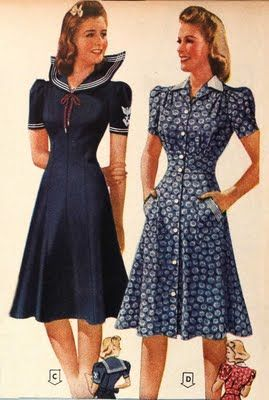Navy and white dresses-1941
