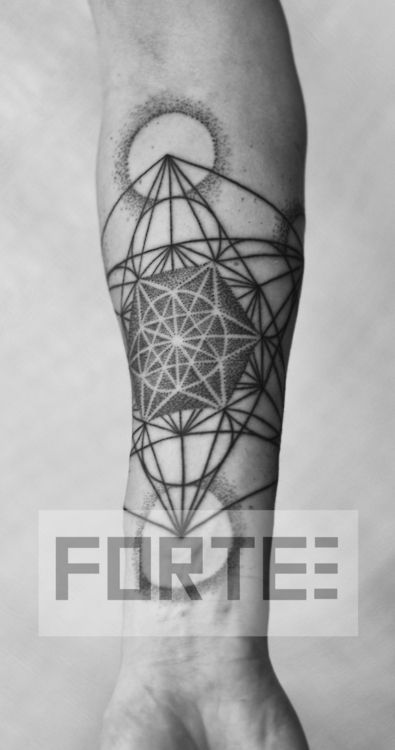 I did this blackwork, dotwork, sacred geometry tattoo at the Portland Tattoo Expo.  Dillon Forte, Sri Yantra Tattoo, Oakland CA (SacredGeometryTattoo.com).