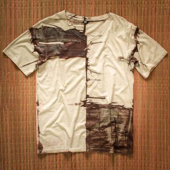 Tričko z čisté bavlny batikované kávou a bambusem