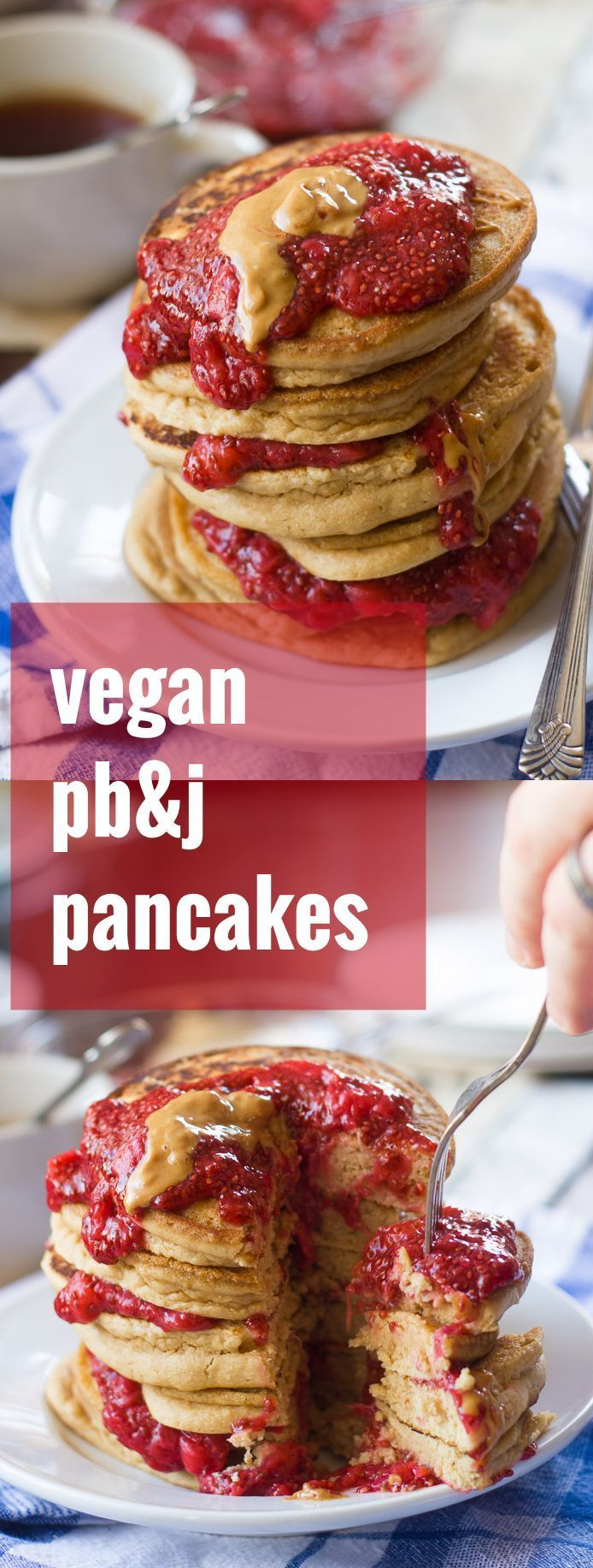 Fluffy peanut butter pancakes are layered with sweet and juicy strawberry chia jam to make this scrumptious and satisfying stack of vegan pb&j pancakes.