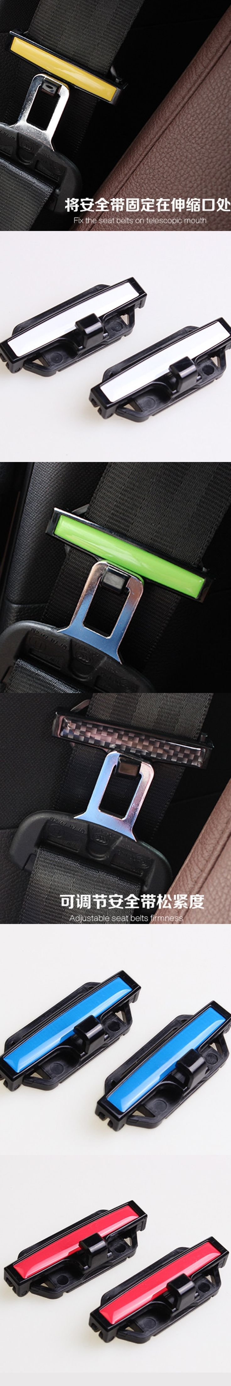 6 Colors New Arrival Car-styling 2 pcs Adjustable Car Seat Belt Locking Stopper Auto Comfort Safety Clip Extender Car styling