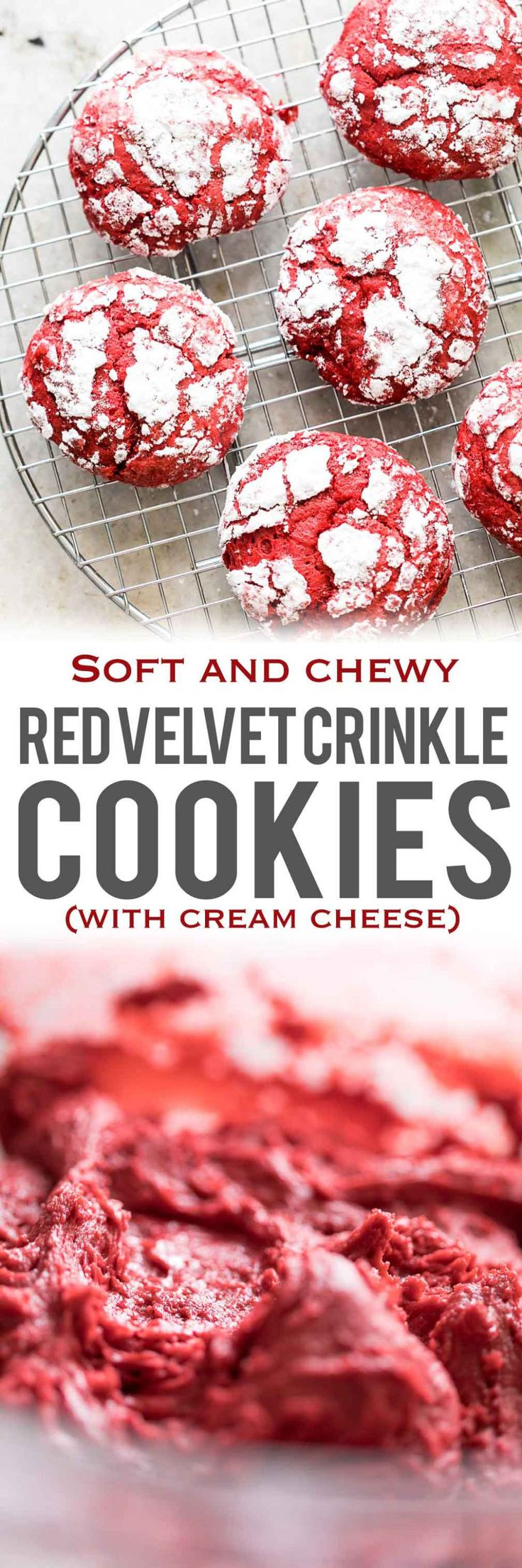 Red Velvet Crinkle Cookies are soft, chewy cookies that are made from scratch with cream cheese and will fit right in with your holiday plans. Use them for cookie swaps, gifting or just to pass around the Christmas table! My Food Story #cookies #cookierecipe #redvelvetcookies