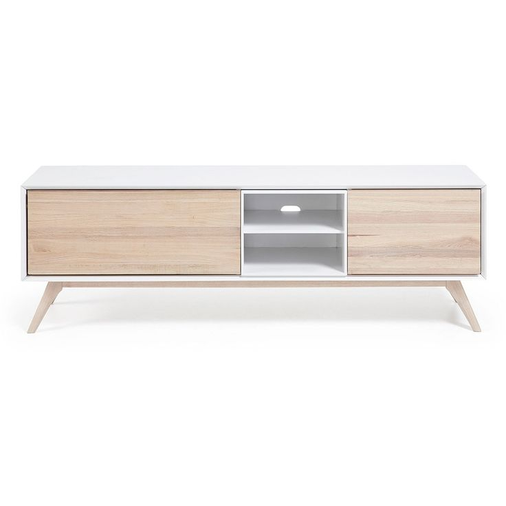 Quatre Wooden TV Cabinet In White And Ash