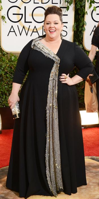 Melissa McCarthy in a custom gown created by stylist George Kotsiopoulos and seamstress Daniela Kurrle with Neil Lane jewelry.  Golden Globes 2014