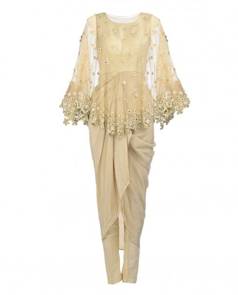 Cream Drape Dress with Mirror Work Cape - Arpita Mehta - Designers