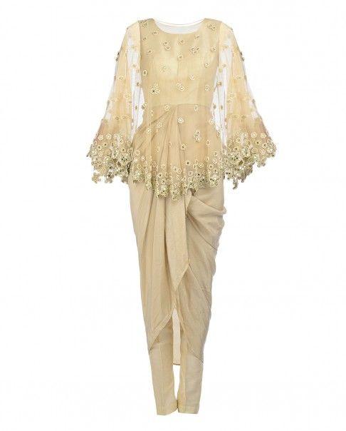 Cream Drape Dress with Mirror Work Cape - Arpita Mehta - Designers
