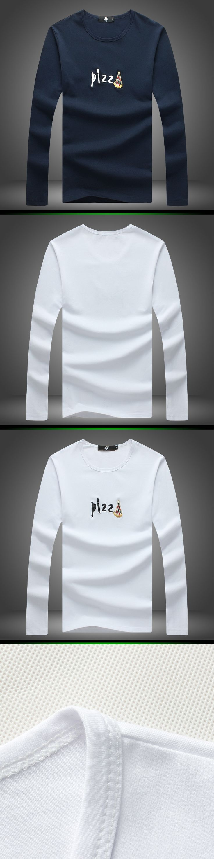 2015 Hot men tshirt Long sleeve tops casual t shirt Embroidery simple design solid color t-shirts men's clothing M-5XL