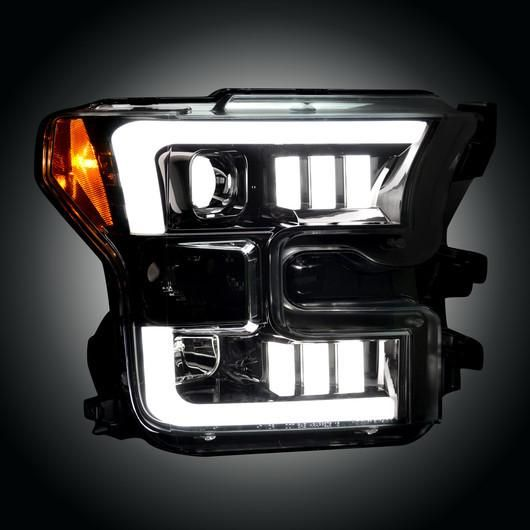 Recon | 264290BKC | Smoked/Black Projector Headlights Fits 2015-2017 Ford F150 (With Factory Halogen Headlights Only) - Free Overnight Shipping!