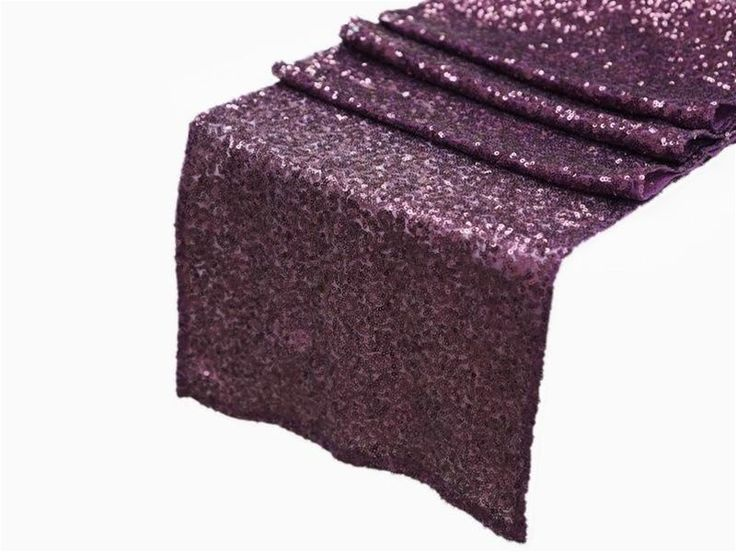 "12""x108"" Eggplant Purple SEQUIN TABLE RUNNER Wedding Party Catering Event Linens $10"