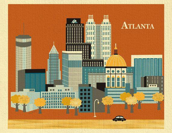Horizontal Skyline Atlanta Georgia  Destination by loosepetals