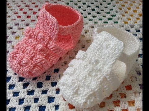 Tutorial Sandalias Bebé Crochet o Ganchillo Baby Sandals (English subtitles) - YouTube
