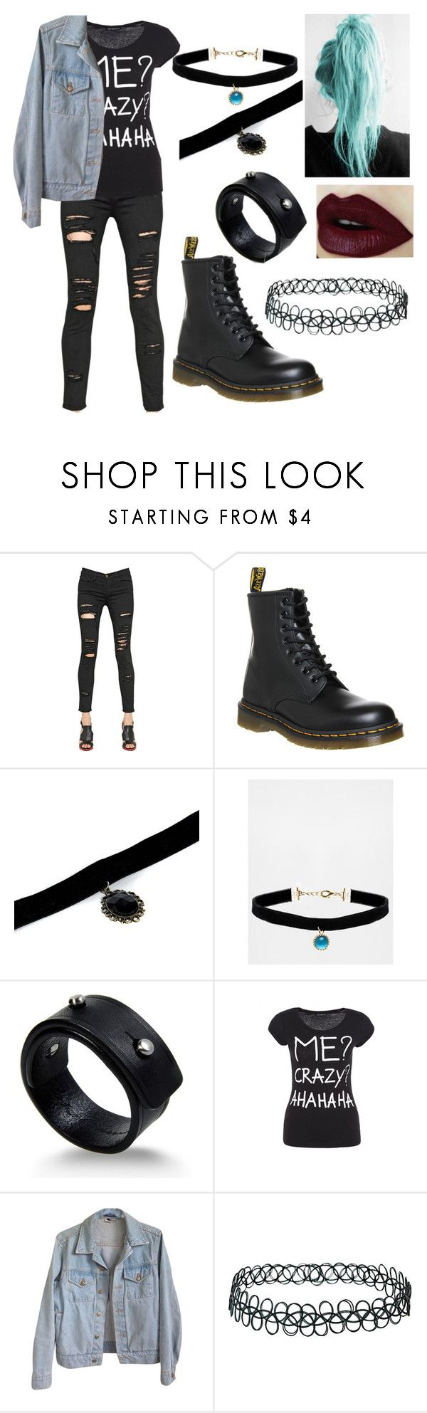 """""""Grunge style"""" by maggiesoutfit ❤ liked on Polyvore featuring Frame, Dr. Martens, Boohoo, Rock 'N Rose, Rick Owens, American Apparel and Topshop"""