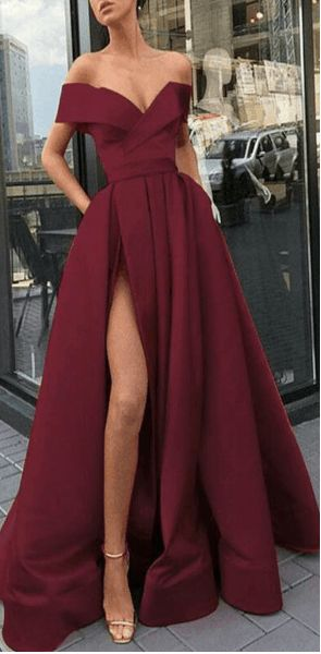 A-Line Elegant Gold Long Women Formal Prom Dresses,Evening Gowns with Split, PD0942 A-Line Elegant Gold Long Women Formal Prom Dresses,Evening Gowns w...