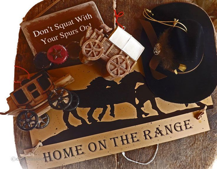 Cowboy Christmas Ornaments with home on the range sign