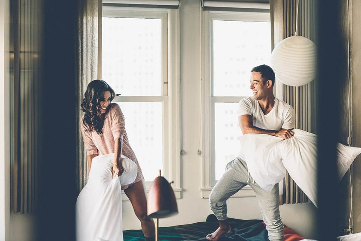 Have a pillow fight. | 41 Romantic Ideas To Elevate Your Engagement Pictures