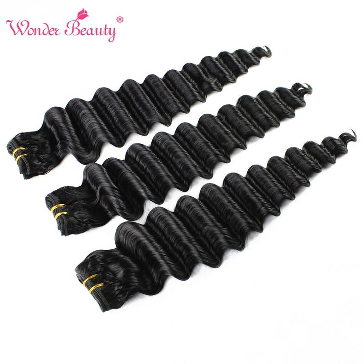 Wonder Beauty Human Hair Extensions Brazilian Deep Wave 4 Bundles deal Mixed Length Hair Weave Black Machine Double Weft