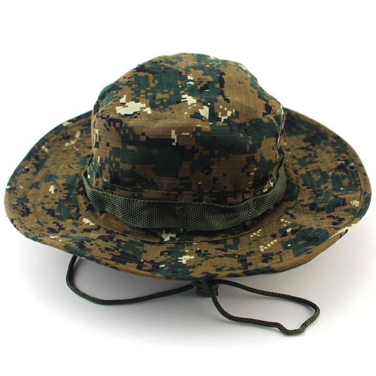 Military Camo Bucket Hat with Strings Camping Hiking