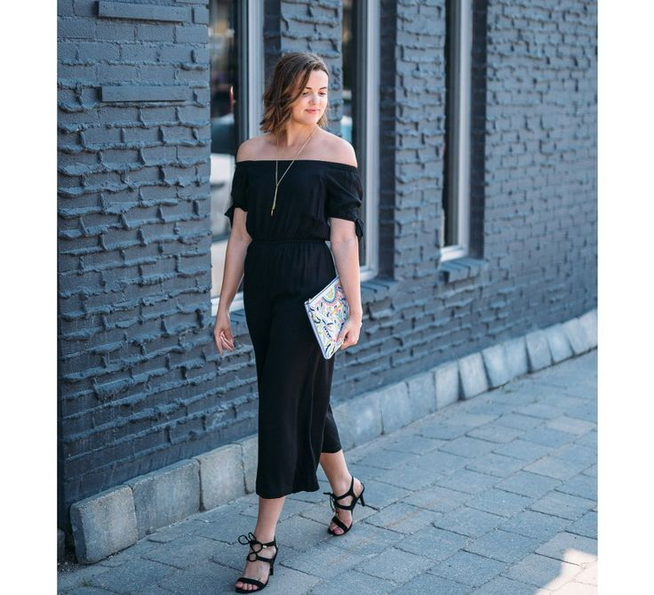 Off the Shoulder Jumpsuit (Black) - New Arrivals    Slip into comfort for your next event! This jumpsuit features an off the shoulder cut with wide pant legs and tied sleeves. Also available in: Cream.