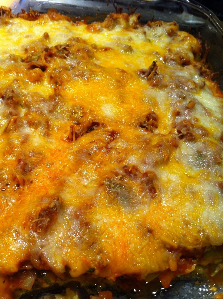 Cheesy beef and zucchini casserole. Sub spaghetti sauce with bbq sauce