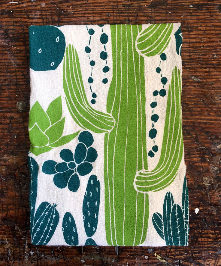 flour sack tea towel . cacti