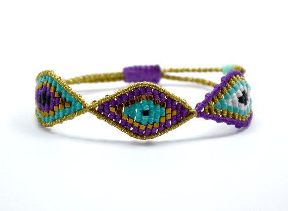 Lila und Türkis, dreifacher Auge Armband