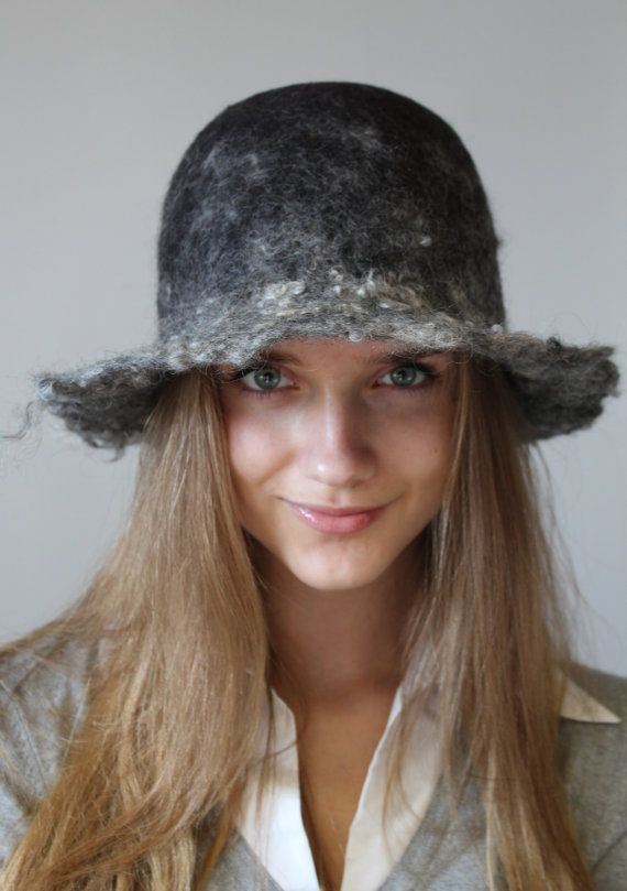 Felted gray hat by doseth on Etsy, €40.00