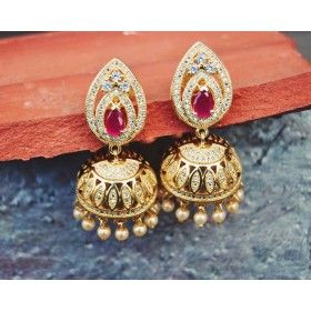 Real Look Gold Diamond Jhumka Earrings with Ruby Stud