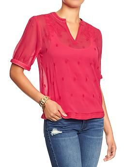 Womens Embroidered Crinkle-Chiffon Tops