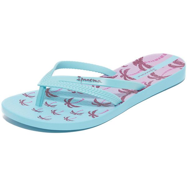 Ipanema Duet Palm Flip Flops (1,155 PHP) ❤ liked on Polyvore featuring shoes, sandals, flip flops, blue, multi color sandals, rubber sandals, ipanema sandals, rubber flip flops and blue sandals